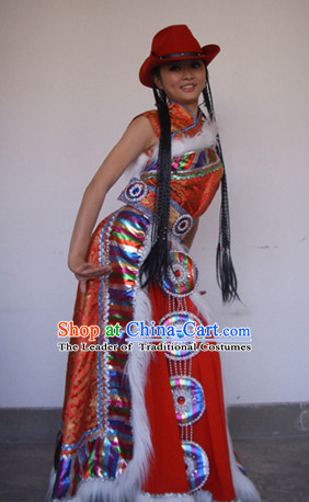 Chinese Tibetan Folk Dance Ethnic Dresses Traditional Wear Clothing Cultural Dancing Costume Complete Set for Women
