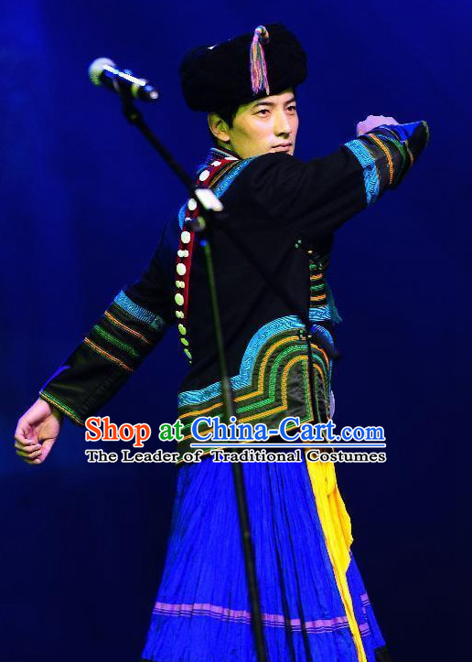 Chinese Yi Group People Folk Dance Ethnic Dresses Traditional Wear Clothing Cultural Dancing Costume Complete Sets for Men
