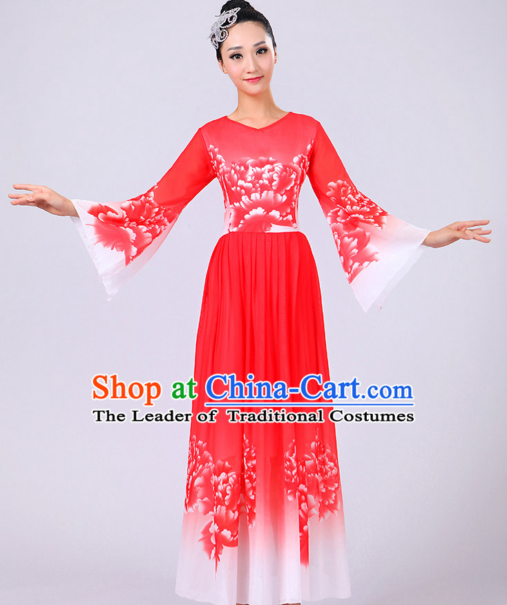 Red Chinese Theater Traditional Dance Ribbon Dancing Long Sleeve Leotard China Fan Dance Costume Complete Set