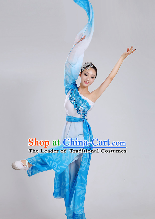 Chinese Theater Traditional Dance Ribbon Dancing Long Sleeve Leotard China Fan Dance Costume Complete Set
