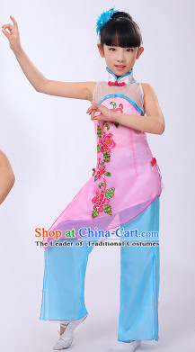 Asian Fan Dance Costume Hand Held Fan Chinese Dancing Ethnic Dance Folk Oriental Dancewear for Women Girls