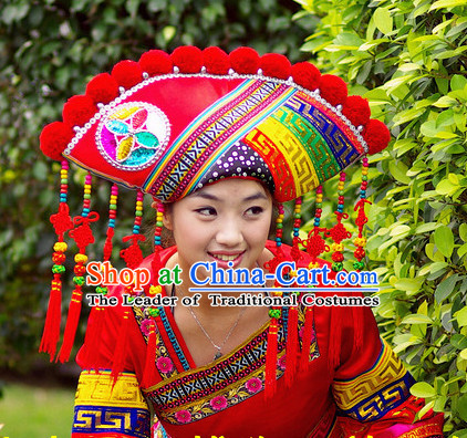 Chinese Ethnic Handmade Guangxi Zhuang Hat for Women