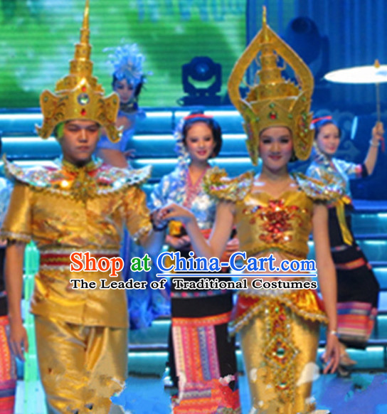 Traditional Thailand National Dance Costumes and Hats Complete Set for Women and Men