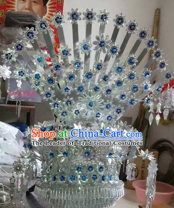Chinese Miao Tribe Handmade Peacock Silver Hat for Women