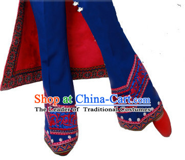 Chinese Folk dancing Ethnic Dresses Traditional Wear Clothing Cultural Dancing Costume Complete Set for Women