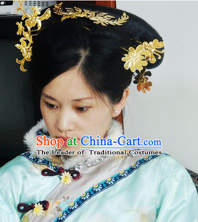 Qing Dynasty Imperial Royal Quene Phoenix Hairstyle Wigs Hairstyle Chinese Oriental Hairstyles Headpieces