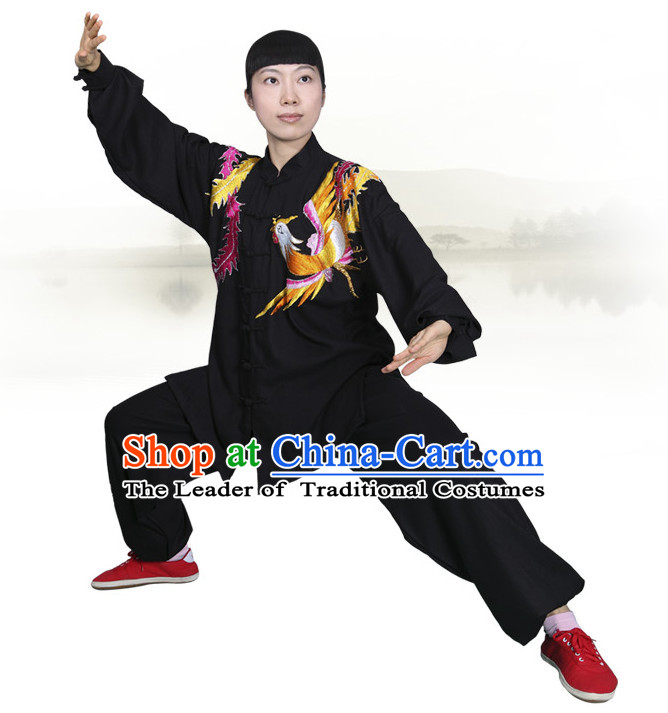 Asian Championship Embroidered Phoenix Kung Fu Martial Arts Uniform Suit for Women Girls