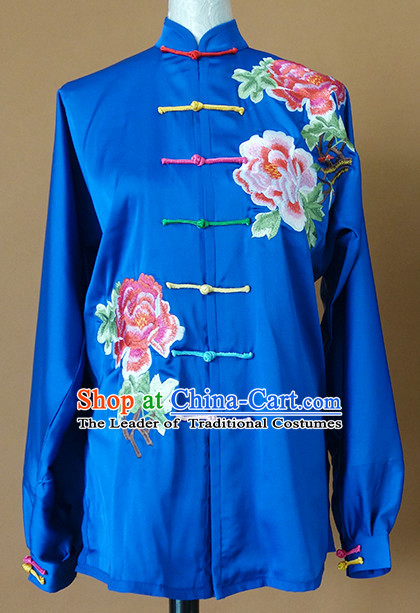 Top Asian Championship Color Changing Gradient Embroidered Peony Kung Fu Martial Arts Uniform Suit for Women Girls