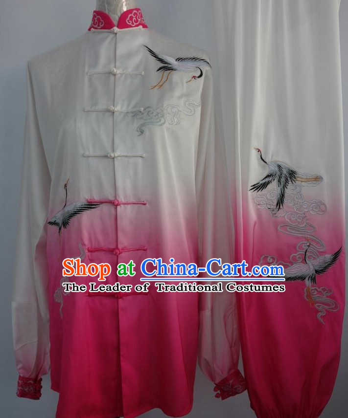 Top Asian Championship Color Changing Gradient Embroidered Crane Kung Fu Martial Arts Uniform Suit for Women Men
