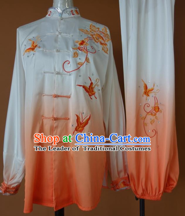 Top Gold Asian Championship Embroidered Butterfly Kung Fu Martial Arts Uniform Suit for Women Men