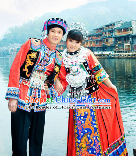 Chinese Hmong Minority Nationality Ethnic Groups Wear Dresses Traditional Clothing for Women and Men