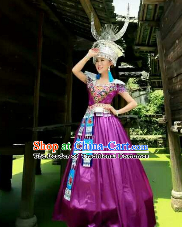 Traditional Chinese Hmong Singer Costumes Miao Dress Asian Ethnic Clothing National Costume Attire and Silver Hat Complete Set for Women