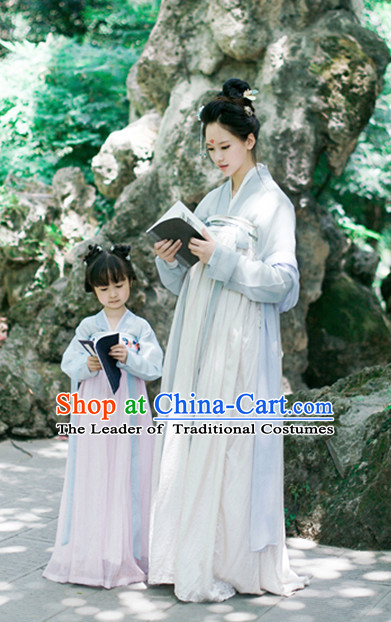 Grey Color Chinese Traditional Tang Dynasty Han Fu Costumes Complete Set