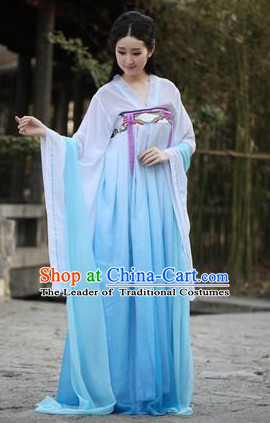 Blue Chinese Traditional Han Fu Costumes Complete Set