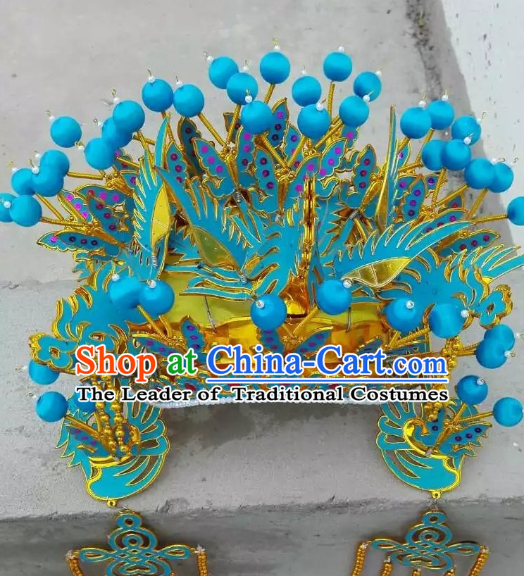 Light Blue Chinese Traditional Phoenix Coronet Opera Hat