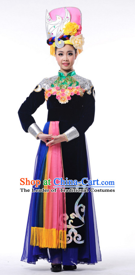 Traditional Chinese Ethnic Dance Costumes for Girls