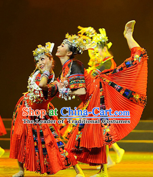 Traditional Ethnic Miao Dancing Costumes for Girls