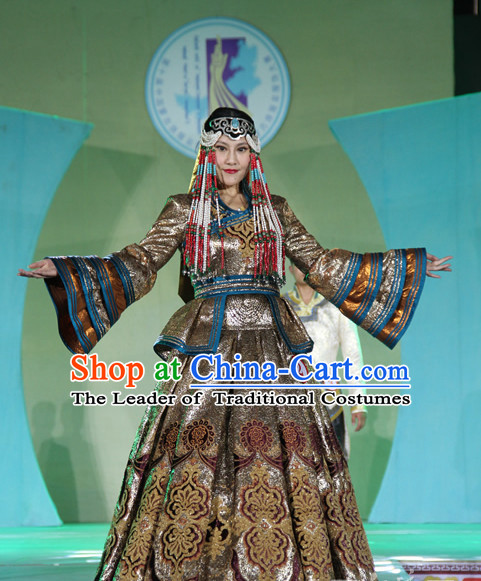 Traditional Mongolian Clothing Ancient Ethnic Queen Garment and Hat Complete Set for Women