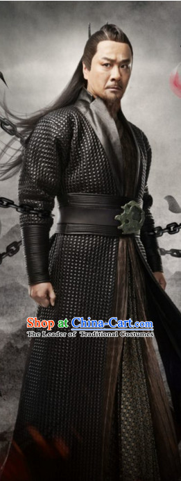 Ancient Chinese Traditional Swordsman Black Costumes and Hair Accessories Complete Set for Men
