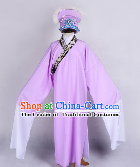 Light Purple Chinese Opera Costumes Huangmei Opera Stage Performance Costume Chinese Traditional Costume Drama Costumes and Hat Complete Set for Men