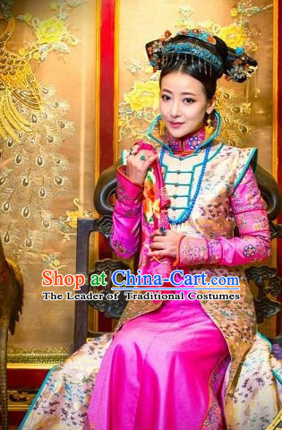 Traditional Chinese Qing Dynasty Imperial Palace Princess Costumes and Hair Accessories Complete Set for Women Girls Kids Adults