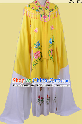 Chinese Opera Costumes Huangmei Opera Stage Performance Costume Chinese Traditional Shuixiu Costume Drama Costumes and Hat Complete Set