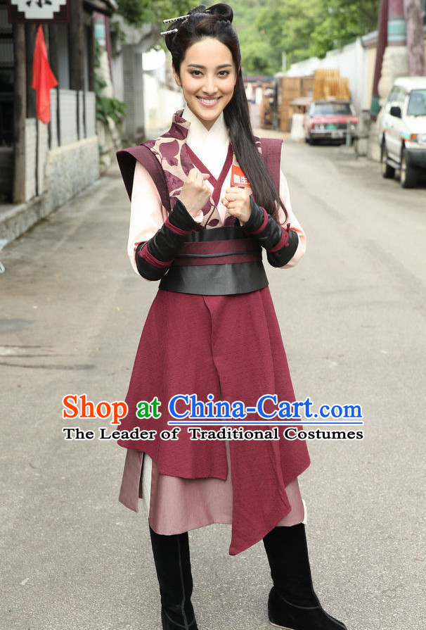 Ancient Chinese Swordswoman Hanfu Han Fu Clothing Complete Set