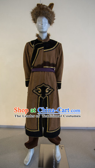 Chinese Traditional Ethnic Mongolian Dress Wear Clothing Complete Set
