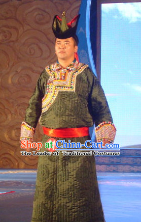 Chinese Traditional Ethnic Mongolian Dress Wear Clothing and Hat Complete Set