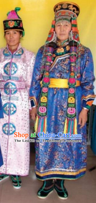 Chinese Traditional Ethnic Empress National Costumes Dresses Wear Clothing and Hat Complete Set for Men