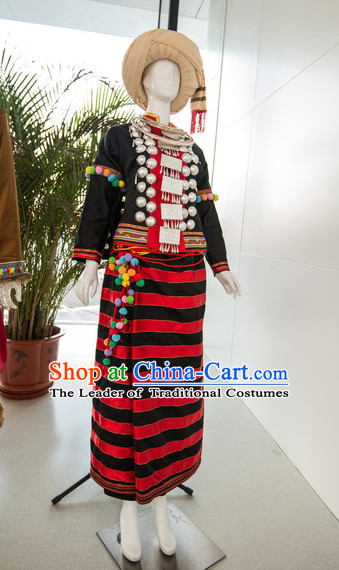Chinese Traditional Ethnic Miao National Costumes Complete Set for Women