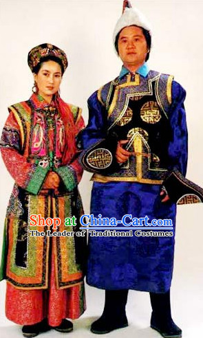 Traditional Chinese Ethnic National Costumes Complete Set for Couple