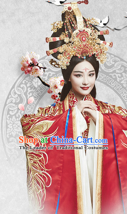 Supreme Chinese Princess Wedding Dresses Bridal Clothing and Headpieces Complete Set for Women