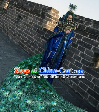 Chinese Ancient Peacock Prince Clothing and Hair Pieces Complete Set for Men