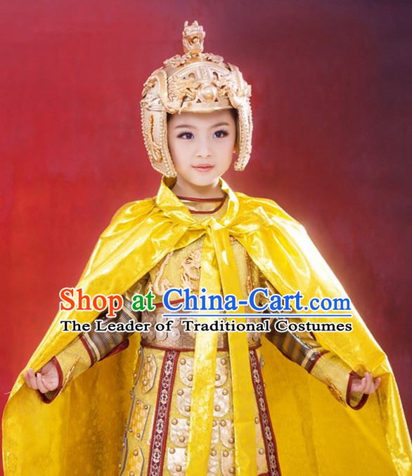Supreme Chinese Kids Emperor Armor Costumes Complete Set for Women