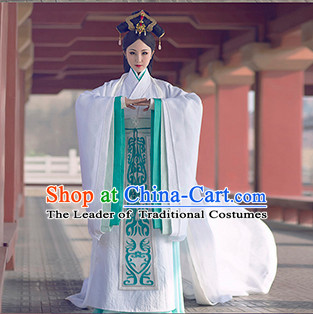 Chinese Traditional White Princess Hanfu Clothing and Hair Accessories Complete Set for Women