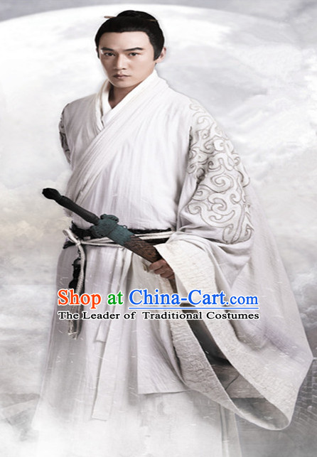 Ancient Chinese Noblemen Men's Clothing & Apparel Chinese Traditional Dress Theater and Reenactment Costumes Complete Set for Men