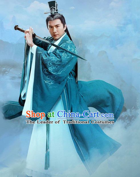 Ancient Chinese Men's Clothing & Apparel Chinese Traditional Dress Theater and Reenactment Costumes and Coronet Complete Set for Men