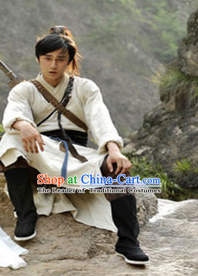 Ancient Chinese Traveller Men's Clothing & Apparel Chinese Traditional Dress Theater and Reenactment Costumes and Coronet Complete Set for Men