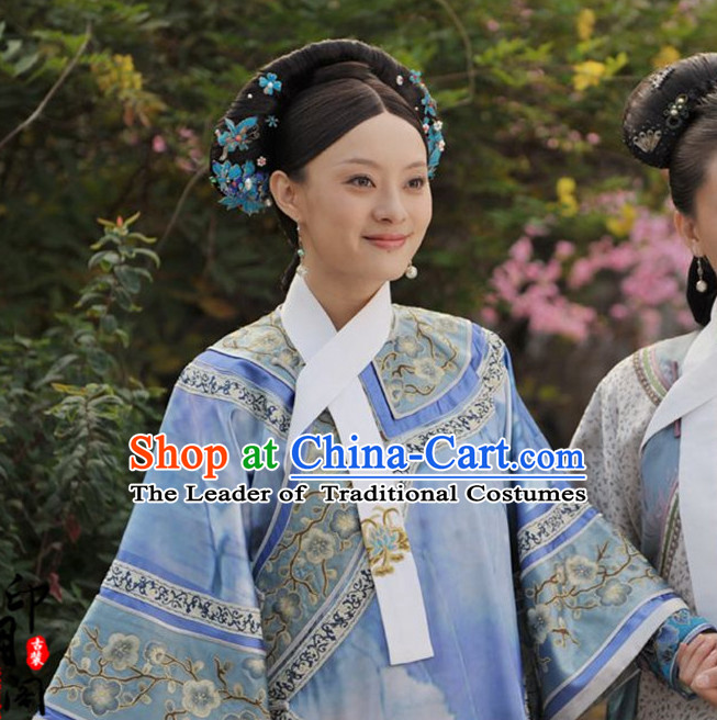 Ancient Chinese Qing Dynasty TV Drama Women's Clothing & Apparel Chinese Traditional Dress Theater and Reenactment Costumes and Coronet Complete Set for Women