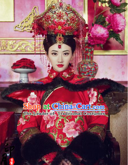 Chinese Empress Manchu Women's Wedding Bridal Clothing & Apparel Chinese Traditional Dress Theater and Reenactment Costumes and Headwear Complete Set