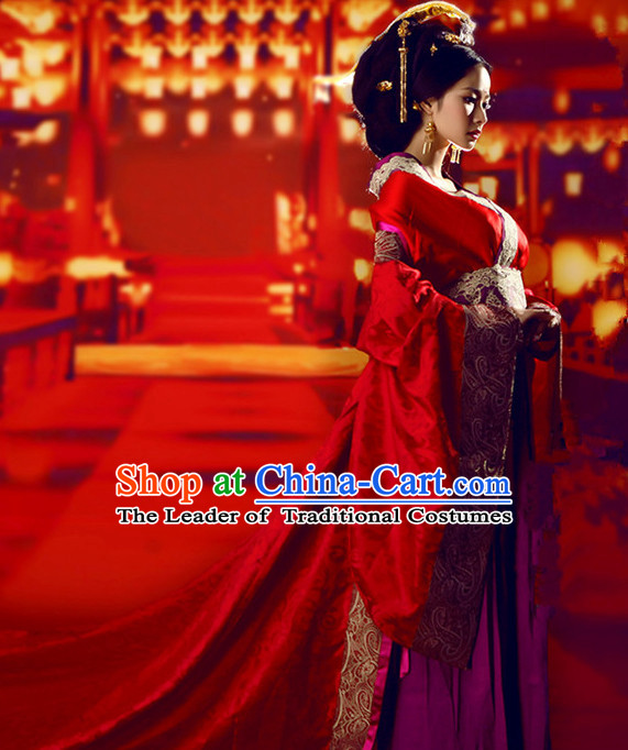 Chinese Empress Tang Dynasty Women's Wedding Bridal Clothing & Apparel Chinese Traditional Dress Theater and Reenactment Costumes and Headwear Complete Set