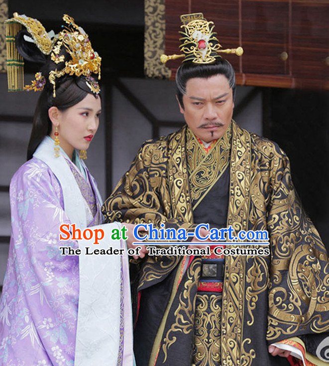 Chinese Ancient Emperor Men's Clothing & Apparel Chinese Traditional Dress Theater and Reenactment Costumes and Headwear Complete Set