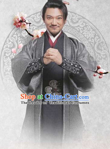 Chinese Ancient Fighter Men's Clothing _ Apparel Chinese Traditional Dress Theater and Reenactment Costumes and Headwear Complete Set