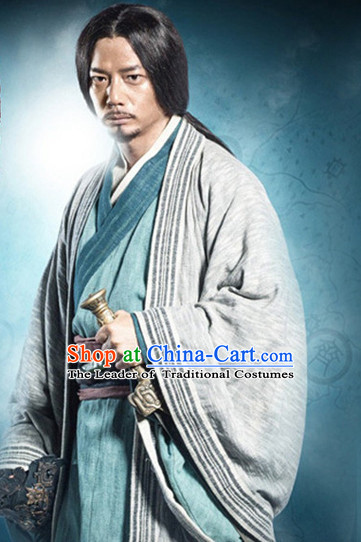 Chinese Ancient Wise Men's Clothing & Apparel Chinese Traditional Dress Theater and Reenactment Costumes and Headwear Complete Set