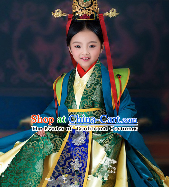 Chinese Ancient Empress Kids's Clothing & Apparel Chinese Traditional Dress Theater and Reenactment Costumes and Headwear Complete Set