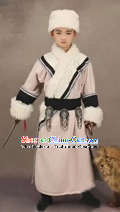 Chinese Ancient Mongolian Kids's Clothing & Apparel Chinese Traditional Dress Theater and Reenactment Costumes and Hat Complete Set