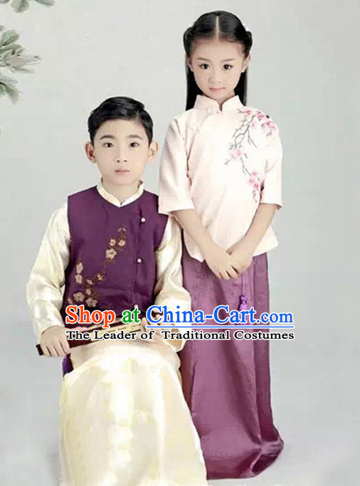 Chinese Minguo Period Kids's Clothing & Apparel Chinese Traditional Dress Theater and Reenactment Costumes and Hat Complete Set
