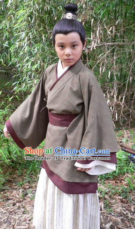 Chinese Ancient Hanfu Kids's Clothing & Apparel Chinese Traditional Dress Theater and Reenactment Costumes and Hat Complete Set