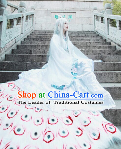 Chinese Men Traditional Royal Emperor White Peacock Dress Cheongsam Ancient Chinese Imperial Clothing Cultural Robes Complete Set